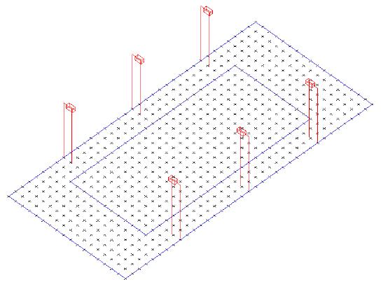 Sân tennis dùng đèn cao áp cần có: vị trí đặt cột, hộp đèn, độ cao treo đèn phải áp dụng đúng theo tính toán mẫu