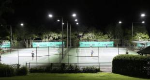 Sân tennis 6 cột sau khi thay thế đèn led