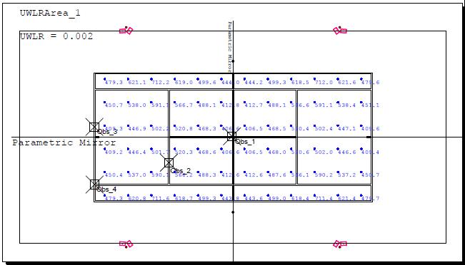 Mặt bằng phân bố cột, hướng treo đèn, các vị trí Obs để đánh giá độ chói